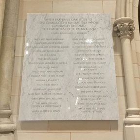 St. Patrick's Cathedral Donor Wall
