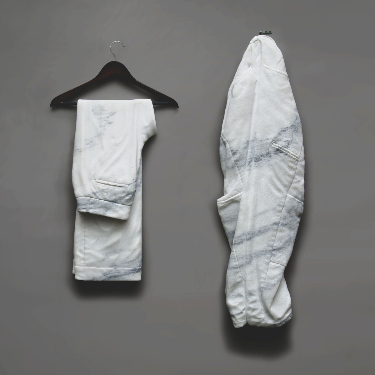 We Both Wear Pants, marble, 43 x 36 x 4 in.