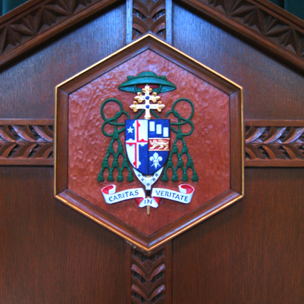 Archbishop Lori Coat of Arms, Baltimore, MD, wood carving