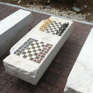 Barclay Chess Tables, reclaimed marble