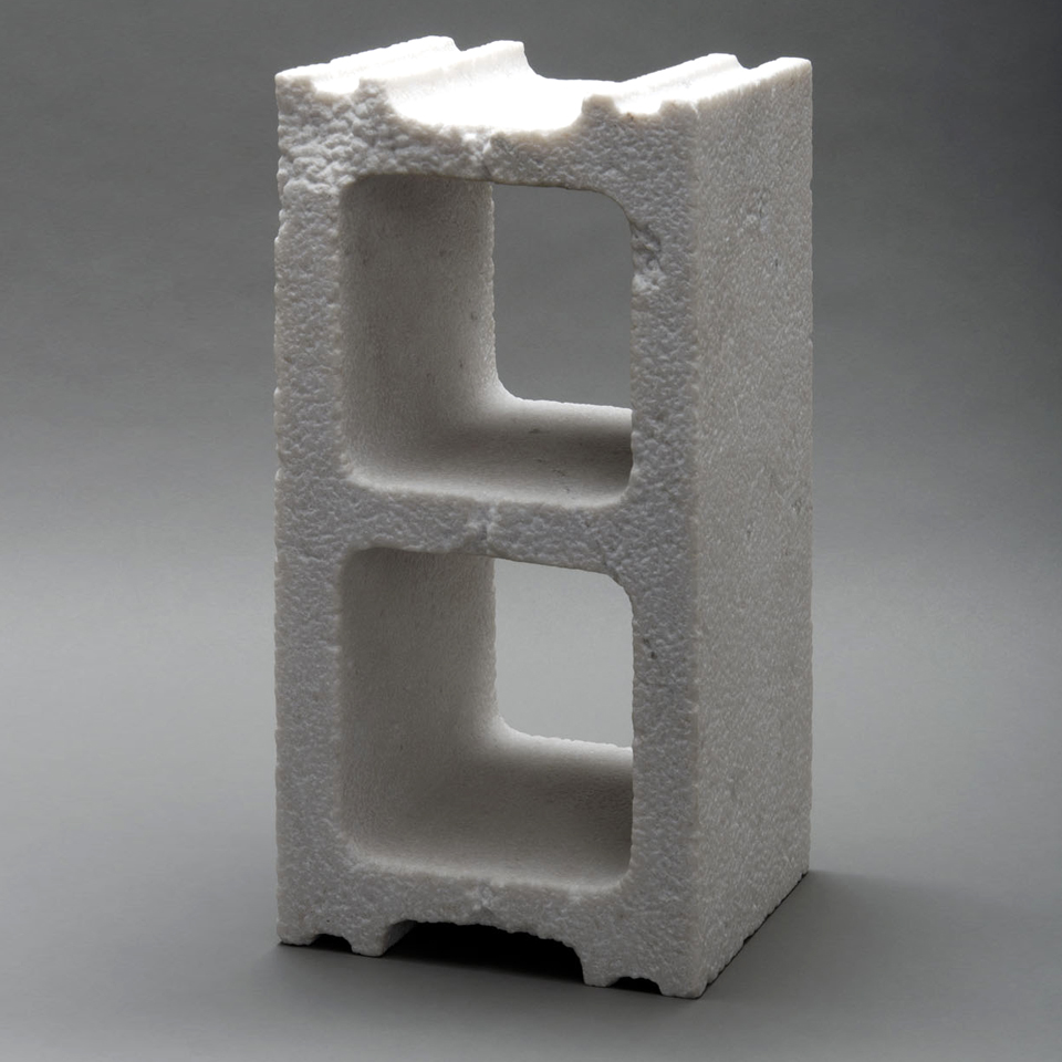 New Construction: Cinderblock, marble, 16 x 8 x 8 in.
