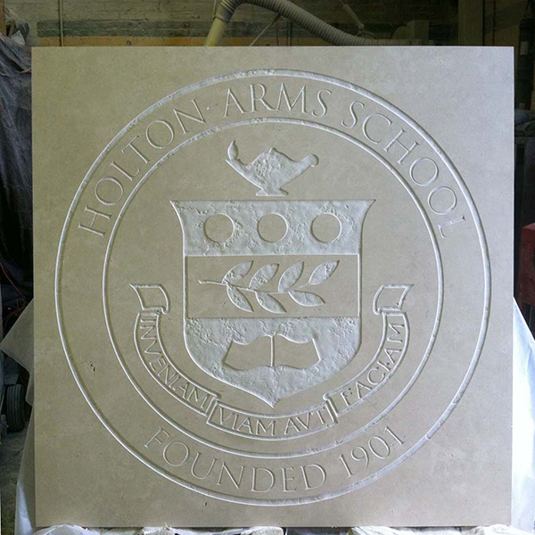 Holton Arms School Seal, limestone, 6 x 6 ft.