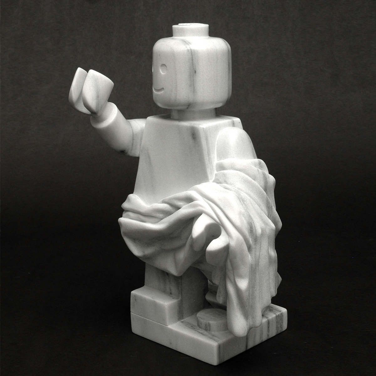 Icon: Legoman, marble, 14 x 8 x 8 in.