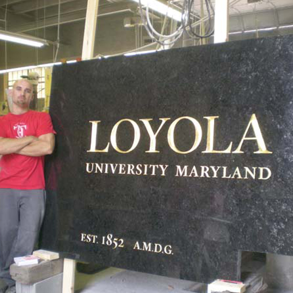 Loyola University Sign, Baltimore, Maryland, granite