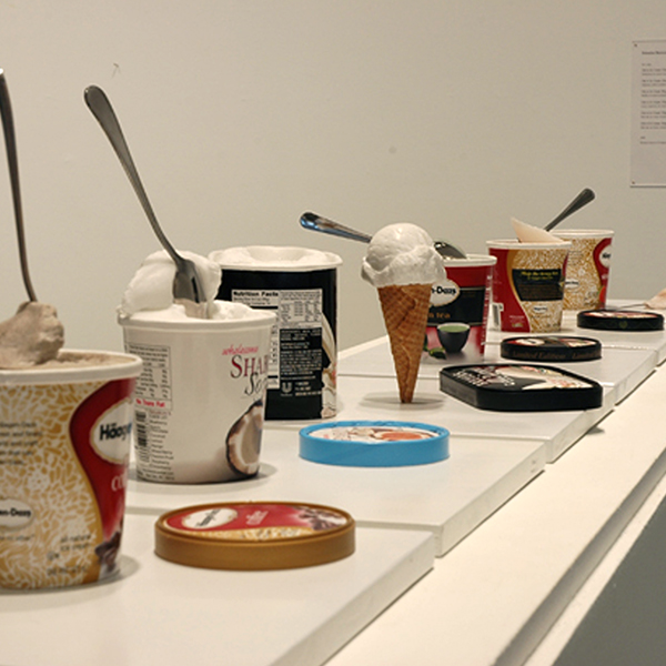 Ode to Ice Cream, marble, limestone, alabaster, found containers