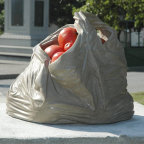 Tan Plastic Bag Memorial, limestone, 13 x 13 x 13 in.