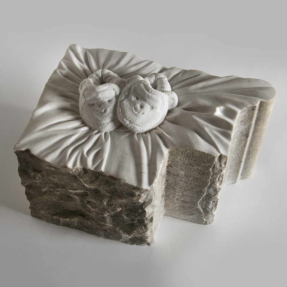 Baby Boots on the Ground, salvaged marble, 12 x 16 x 8 in
