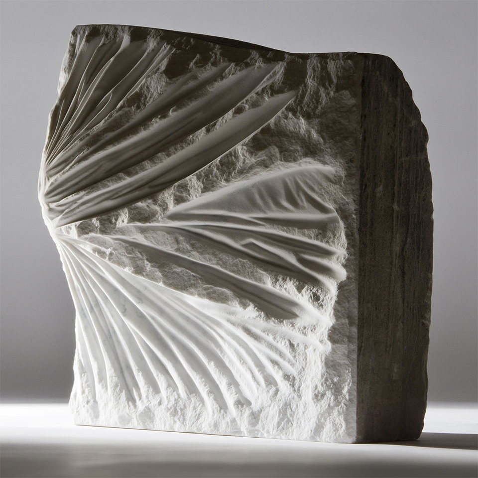 Double Crossed Up, salvaged marble, 19 x 19 x 8 in