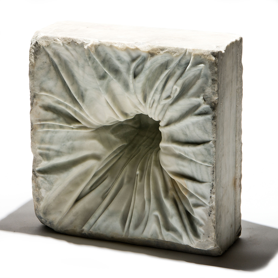 Gut Punch and Pie, salvaged marble, 14 x 14 x 11 in