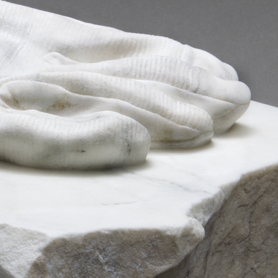 Hand of the Artist, marble, 8 x 7 x 12 in