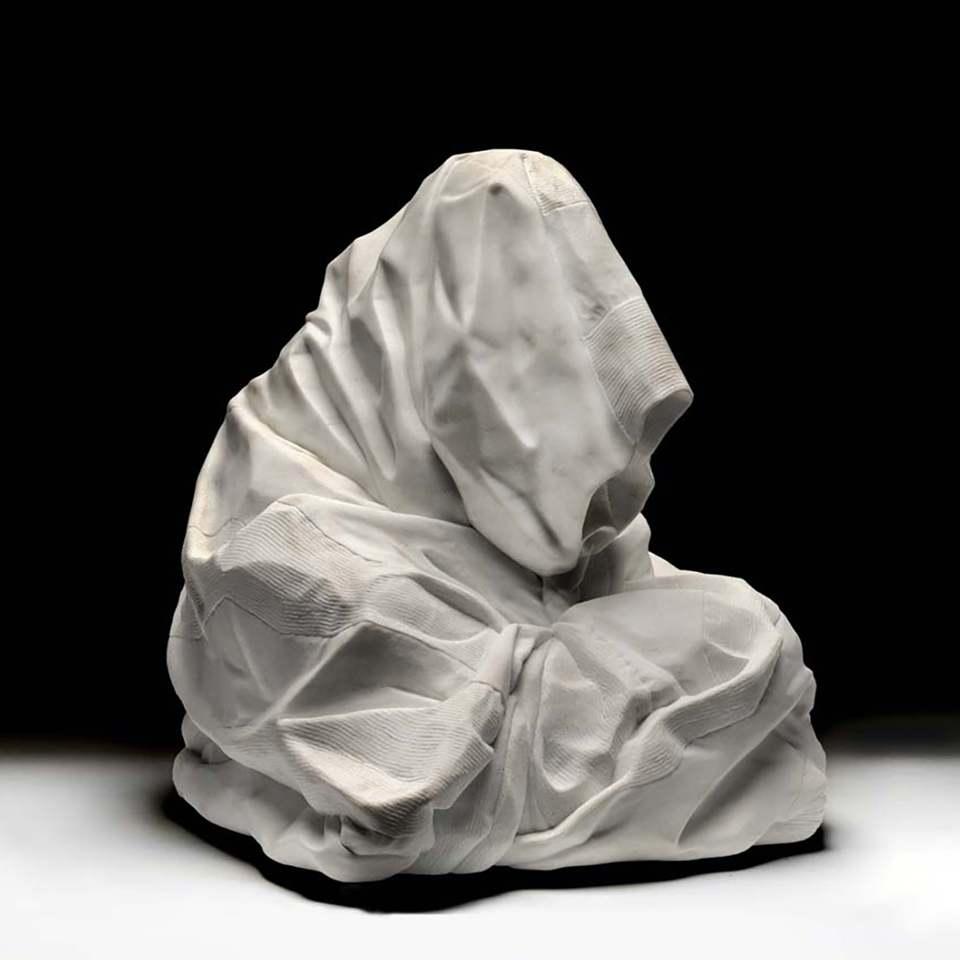 Homeland Security Blanket, marble, 24 x 24 x 24 in, photo courtesy of the Smithsonian American Art Museum