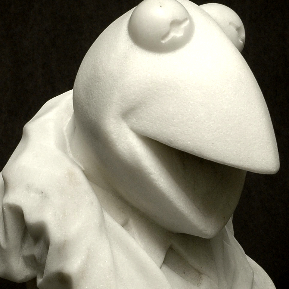 Icon I: Kermit, Imperial Danby marble, 15 x 8 x 8 in
