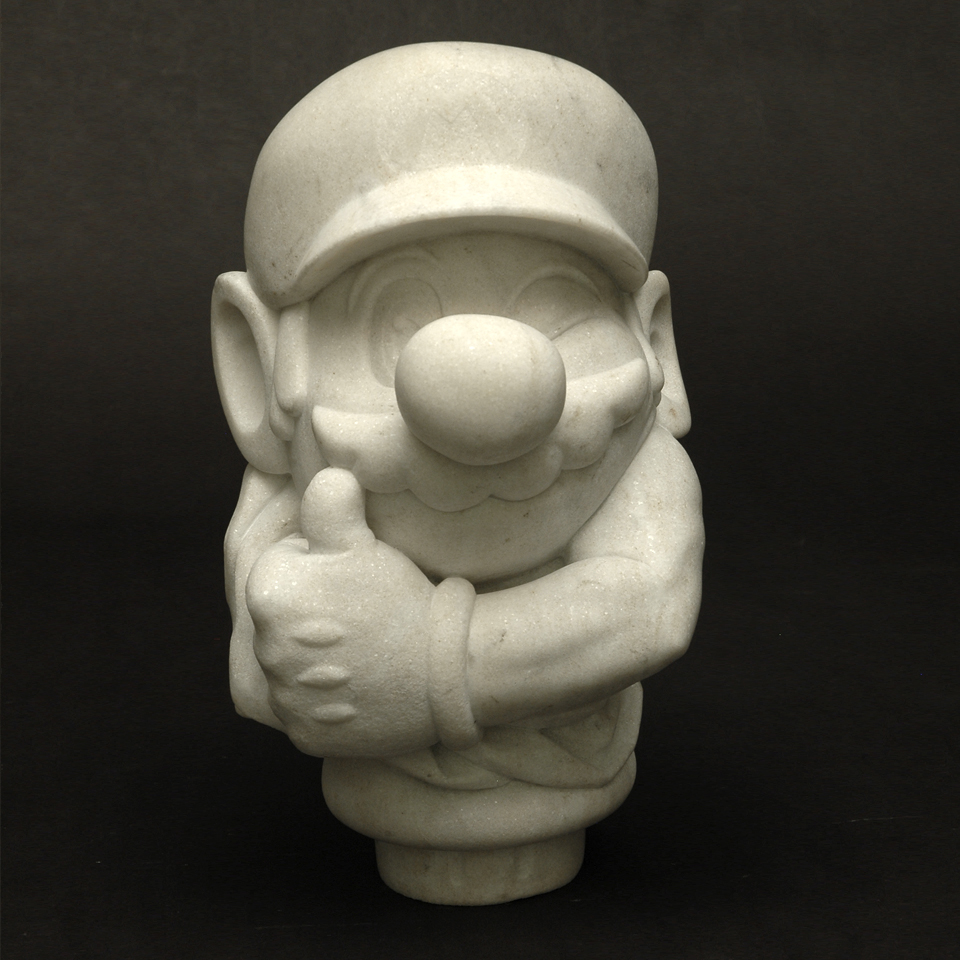 Icon III: Super Mario, Beaver Dam marble, 13 x 8 x 8 in
