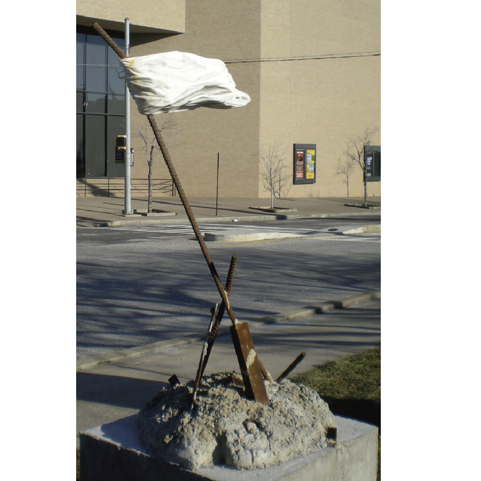 White Plastic Bag Memorial, marble, steel, concrete, 48 x 18 x 30 in